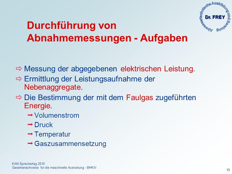 Dr. FREY KAN Sprechertag 2010 Garantienachweise für die maschinelle Ausrüstung - BHKW 15 Durchführung von Abnahmemessungen - Aufgaben Messung der abge