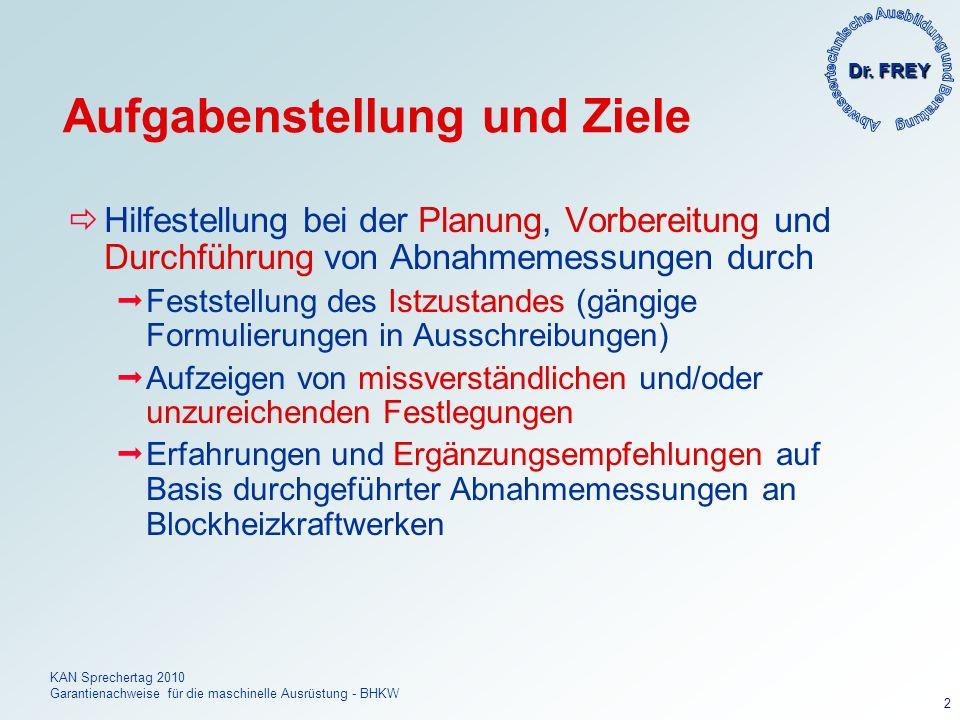 Dr. FREY KAN Sprechertag 2010 Garantienachweise für die maschinelle Ausrüstung - BHKW 2 Aufgabenstellung und Ziele Hilfestellung bei der Planung, Vorb
