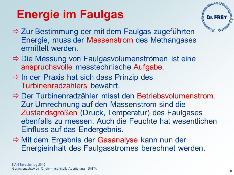 Dr. FREY KAN Sprechertag 2010 Garantienachweise für die maschinelle Ausrüstung - BHKW 20 Energie im Faulgas Zur Bestimmung der mit dem Faulgas zugefüh