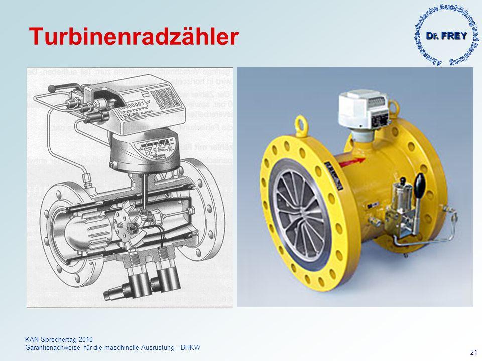 Dr. FREY KAN Sprechertag 2010 Garantienachweise für die maschinelle Ausrüstung - BHKW 21 Turbinenradzähler