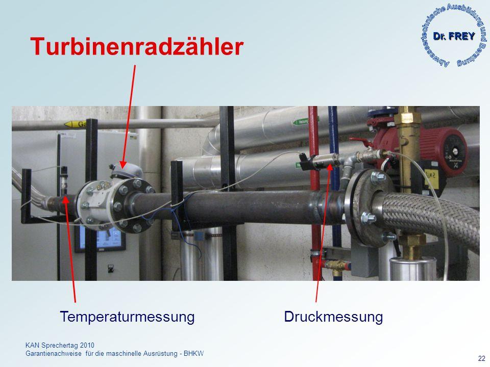 Dr. FREY KAN Sprechertag 2010 Garantienachweise für die maschinelle Ausrüstung - BHKW 22 Turbinenradzähler Temperaturmessung Druckmessung