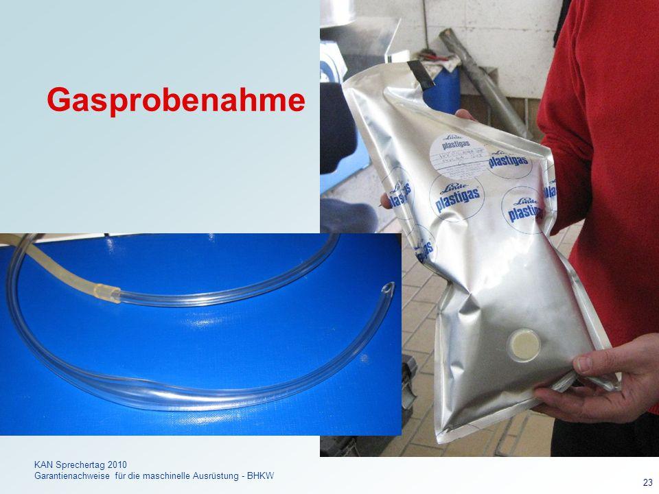 Dr. FREY KAN Sprechertag 2010 Garantienachweise für die maschinelle Ausrüstung - BHKW 23 Gasprobenahme