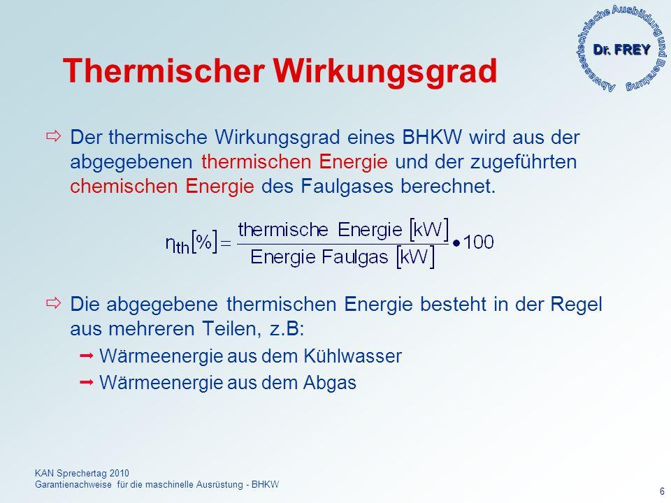 Dr. FREY KAN Sprechertag 2010 Garantienachweise für die maschinelle Ausrüstung - BHKW 6 Thermischer Wirkungsgrad Der thermische Wirkungsgrad eines BHK