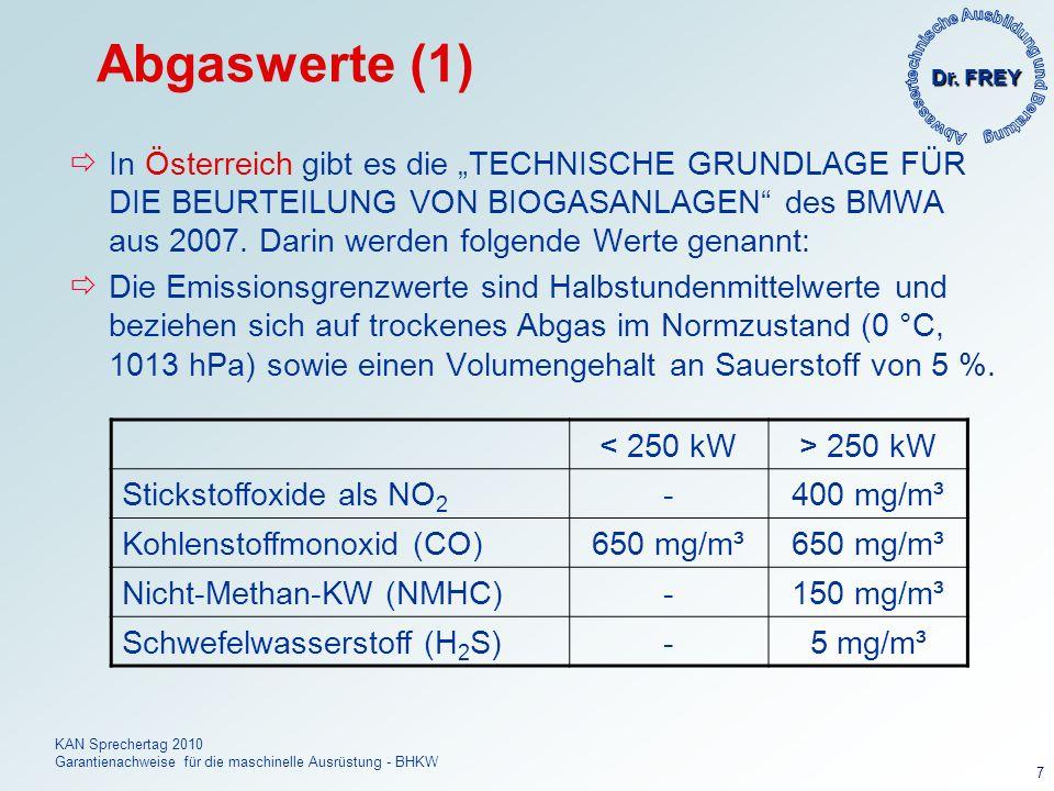 Dr. FREY KAN Sprechertag 2010 Garantienachweise für die maschinelle Ausrüstung - BHKW 7 Abgaswerte (1) In Österreich gibt es die TECHNISCHE GRUNDLAGE