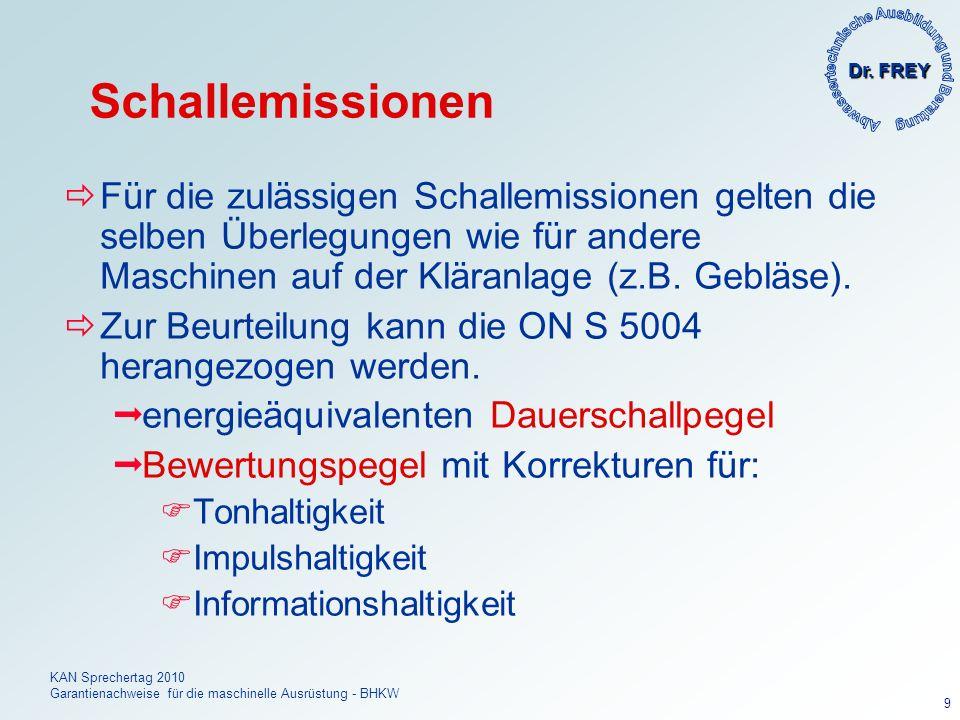 Dr. FREY KAN Sprechertag 2010 Garantienachweise für die maschinelle Ausrüstung - BHKW 9 Schallemissionen Für die zulässigen Schallemissionen gelten di