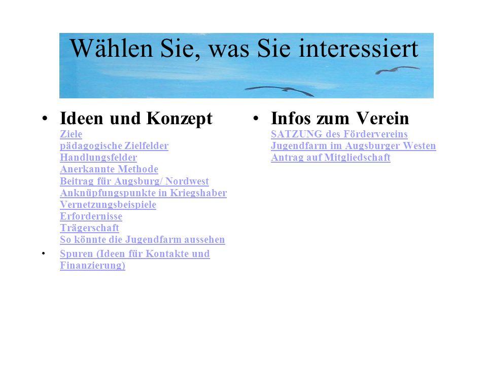 Wählen Sie, was Sie interessiert Ideen und Konzept Ziele pädagogische Zielfelder Handlungsfelder Anerkannte Methode Beitrag für Augsburg/ Nordwest Ank