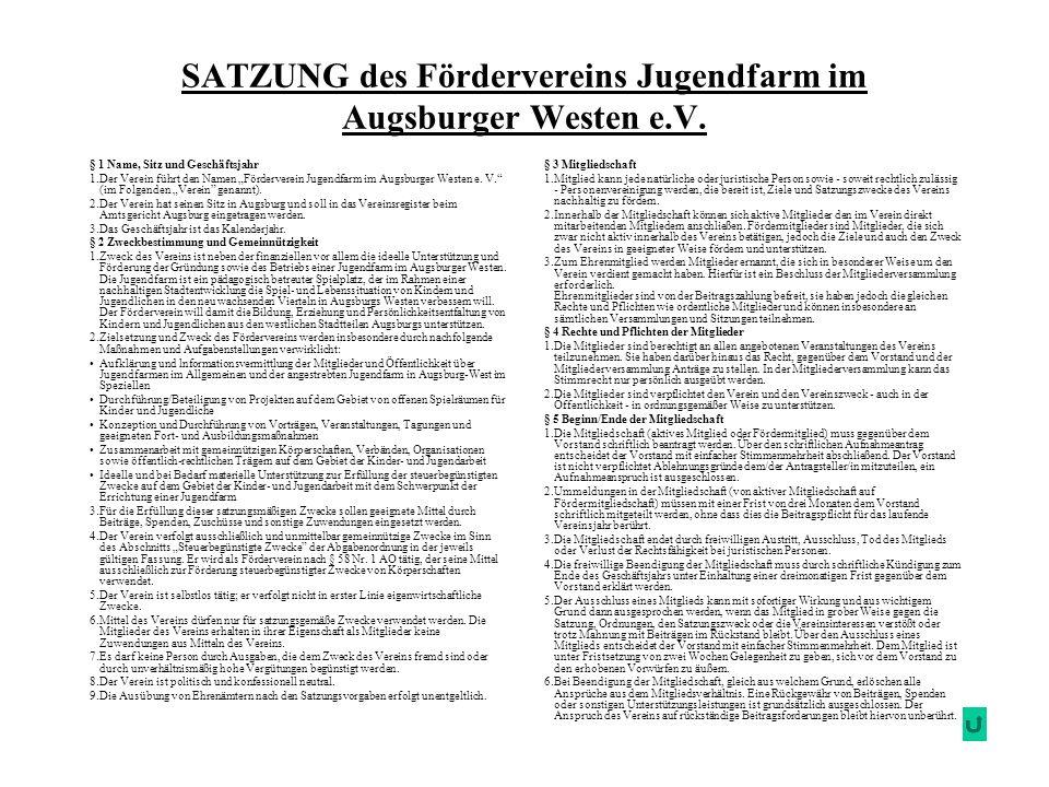 SATZUNG des Fördervereins Jugendfarm im Augsburger Westen e.V. § 3 Mitgliedschaft 1.Mitglied kann jede natürliche oder juristische Person sowie - sowe