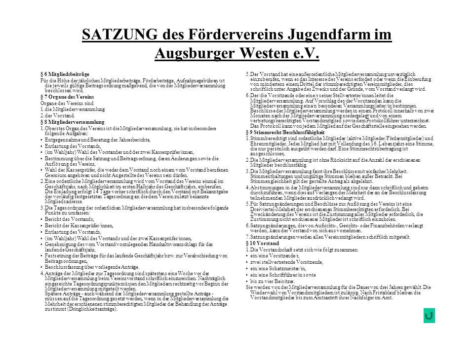 SATZUNG des Fördervereins Jugendfarm im Augsburger Westen e.V. 5.Der Vorstand hat eine außerordentliche Mitgliederversammlung unverzüglich einzuberufe