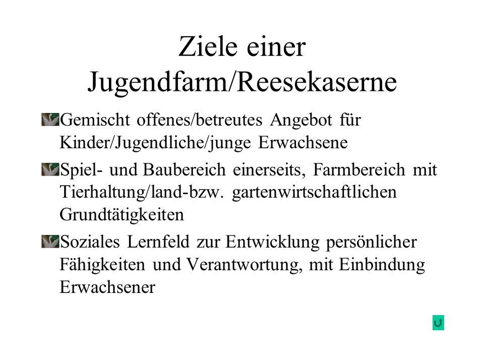 Ziele einer Jugendfarm/Reesekaserne Gemischt offenes/betreutes Angebot für Kinder/Jugendliche/junge Erwachsene Spiel- und Baubereich einerseits, Farmb