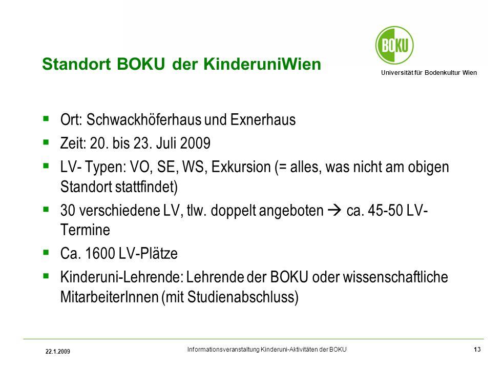 Universität für Bodenkultur Wien Informationsveranstaltung Kinderuni-Aktivitäten der BOKU 22.1.2009 13 Standort BOKU der KinderuniWien Ort: Schwackhöferhaus und Exnerhaus Zeit: 20.