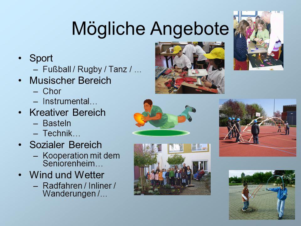 Mögliche Angebote Sport –Fußball / Rugby / Tanz /... Musischer Bereich –Chor –Instrumental… Kreativer Bereich –Basteln –Technik… Sozialer Bereich –Koo