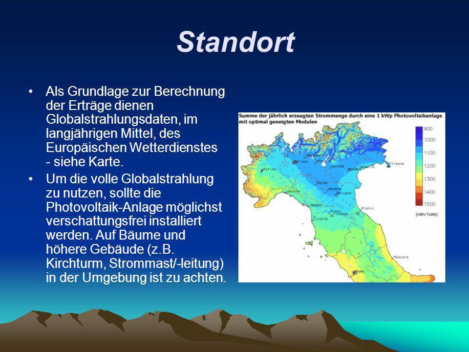 Standort Als Grundlage zur Berechnung der Erträge dienen Globalstrahlungsdaten, im langjährigen Mittel, des Europäischen Wetterdienstes - siehe Karte.