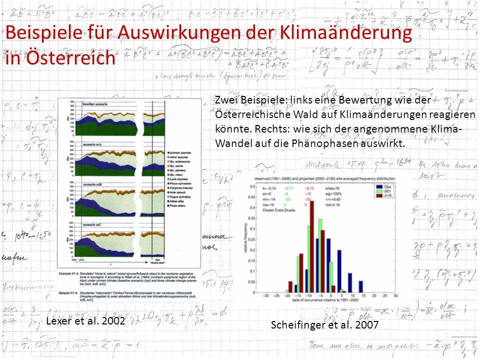 Beispiele für Auswirkungen der Klimaänderung in Österreich Lexer et al. 2002 Scheifinger et al. 2007 Zwei Beispiele: links eine Bewertung wie der Öste