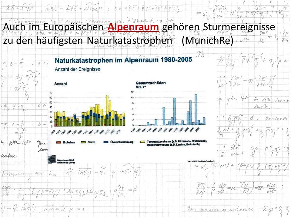 Auch im Europäischen Alpenraum gehören Sturmereignisse zu den häufigsten Naturkatastrophen (MunichRe)