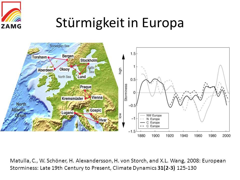 Stürmigkeit in Europa Matulla, C., W. Schöner, H. Alexandersson, H. von Storch, and X.L. Wang, 2008: European Storminess: Late 19th Century to Present