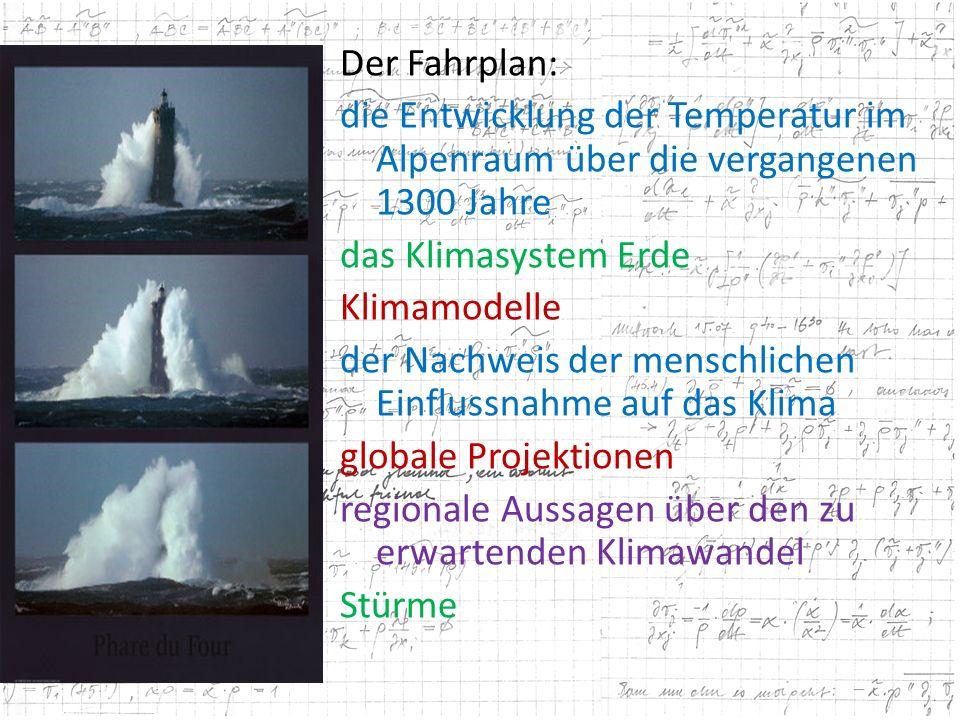 Der Fahrplan: die Entwicklung der Temperatur im Alpenraum über die vergangenen 1300 Jahre das Klimasystem Erde Klimamodelle der Nachweis der menschlic