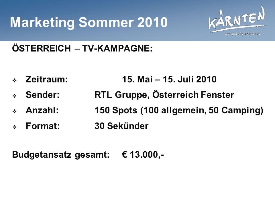 Marketing Sommer 2010 ÖSTERREICH – TV-KAMPAGNE: Zeitraum:15. Mai – 15. Juli 2010 Sender:RTL Gruppe, Österreich Fenster Anzahl:150 Spots (100 allgemein