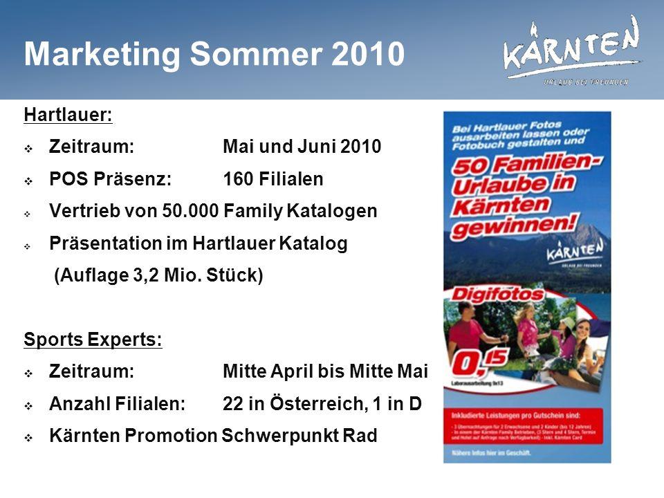 Marketing Sommer 2010 Hartlauer: Zeitraum:Mai und Juni 2010 POS Präsenz:160 Filialen Vertrieb von 50.000 Family Katalogen Präsentation im Hartlauer Katalog (Auflage 3,2 Mio.