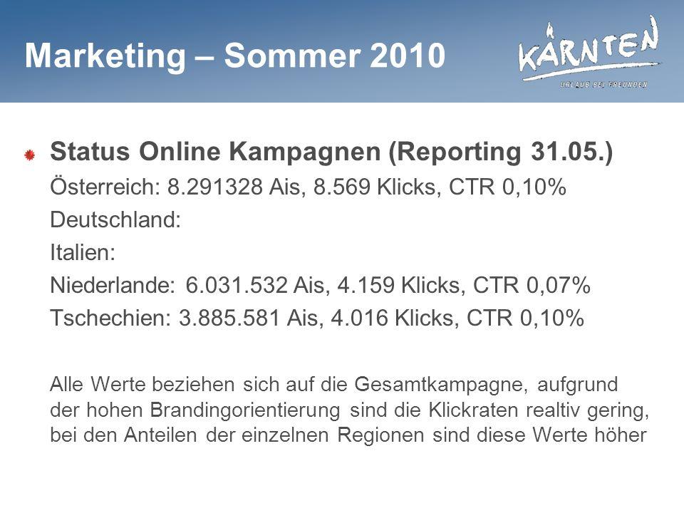 Marketing – Sommer 2010 Status Online Kampagnen (Reporting 31.05.) Österreich: 8.291328 Ais, 8.569 Klicks, CTR 0,10% Deutschland: Italien: Niederlande: 6.031.532 Ais, 4.159 Klicks, CTR 0,07% Tschechien: 3.885.581 Ais, 4.016 Klicks, CTR 0,10% Alle Werte beziehen sich auf die Gesamtkampagne, aufgrund der hohen Brandingorientierung sind die Klickraten realtiv gering, bei den Anteilen der einzelnen Regionen sind diese Werte höher