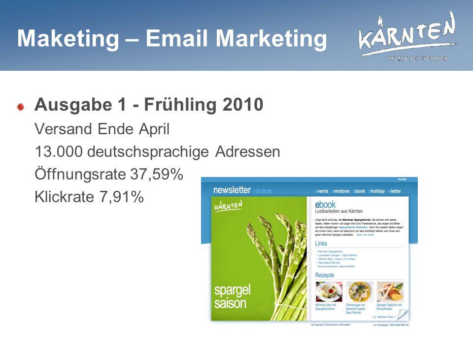 Maketing – Email Marketing Ausgabe 1 - Frühling 2010 Versand Ende April 13.000 deutschsprachige Adressen Öffnungsrate 37,59% Klickrate 7,91%