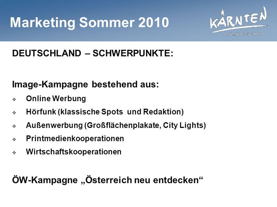 Marketing Sommer 2010 DEUTSCHLAND – SCHWERPUNKTE: Image-Kampagne bestehend aus: Online Werbung Hörfunk (klassische Spots und Redaktion) Außenwerbung (Großflächenplakate, City Lights) Printmedienkooperationen Wirtschaftskooperationen ÖW-Kampagne Österreich neu entdecken