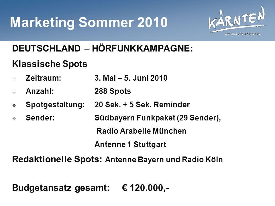 Marketing Sommer 2010 DEUTSCHLAND – HÖRFUNKKAMPAGNE: Klassische Spots Zeitraum:3. Mai – 5. Juni 2010 Anzahl:288 Spots Spotgestaltung:20 Sek. + 5 Sek.