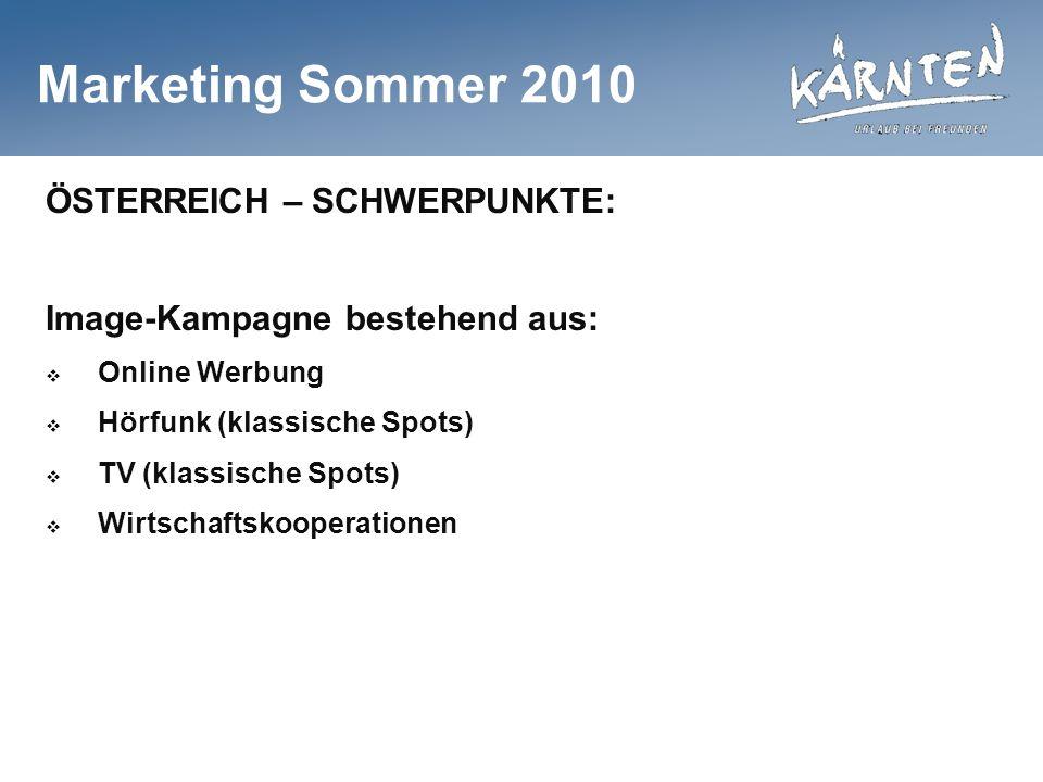 Marketing Sommer 2010 ÖSTERREICH – SCHWERPUNKTE: Image-Kampagne bestehend aus: Online Werbung Hörfunk (klassische Spots) TV (klassische Spots) Wirtschaftskooperationen