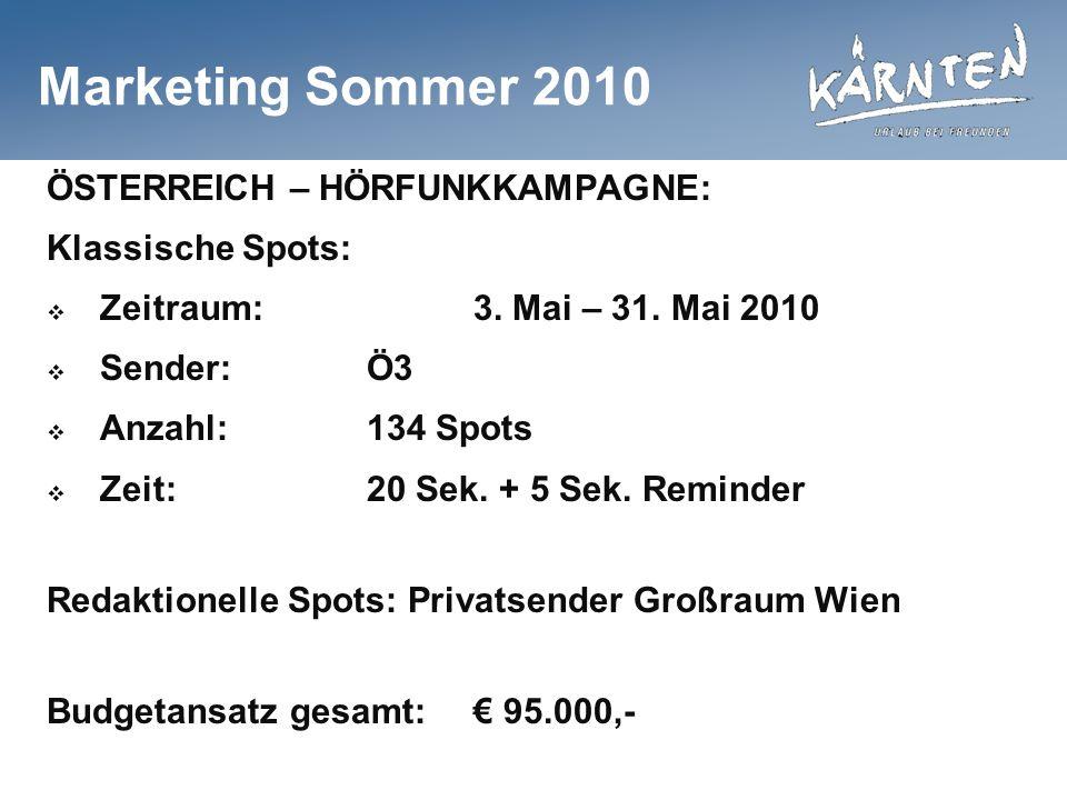Marketing Sommer 2010 ÖSTERREICH – HÖRFUNKKAMPAGNE: Klassische Spots: Zeitraum:3. Mai – 31. Mai 2010 Sender:Ö3 Anzahl:134 Spots Zeit:20 Sek. + 5 Sek.