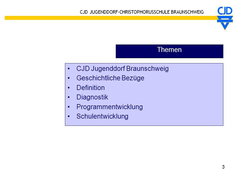 CJD JUGENDDORF-CHRISTOPHORUSSCHULE BRAUNSCHWEIG 3 Themen CJD Jugenddorf Braunschweig Geschichtliche Bezüge Definition Diagnostik Programmentwicklung S