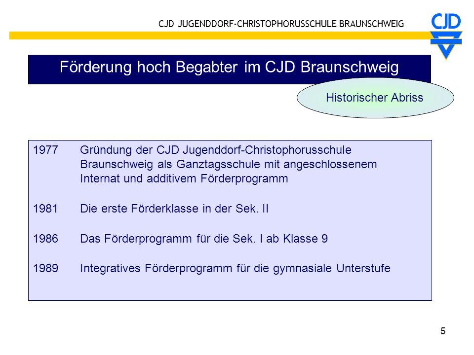 CJD JUGENDDORF-CHRISTOPHORUSSCHULE BRAUNSCHWEIG 6 Förderung hoch Begabter im CJD Braunschweig 1998 S-Profil ab Klasse 7 (Sek.I wird in drei Jahren absolviert) 1999Grundschule mit integrativem Förderprogramm 2003 Sek.II mit integrativem Förderprogramm (Exzellenz- und Kompetenzkurse) 2003 Förderklasse 5/6 (integratives Präventivprogramm, u.a.