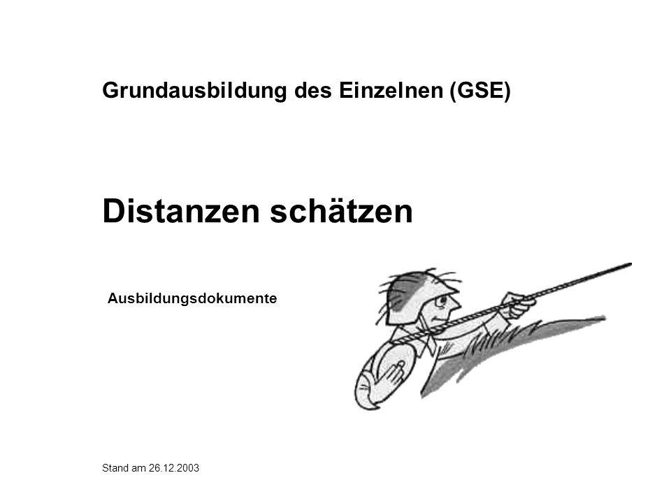 Distanzen messen Abmessen nach der Karte (> 500 m) Messen mit Messband (10-200 m) oder Laserentfernungsmesser (> 200 m) GPS (> 200 m) Abschreiten (10-100 m) Messen mit optischen Instrumenten (200- 1000 m) Einschiessen (> 300 m)