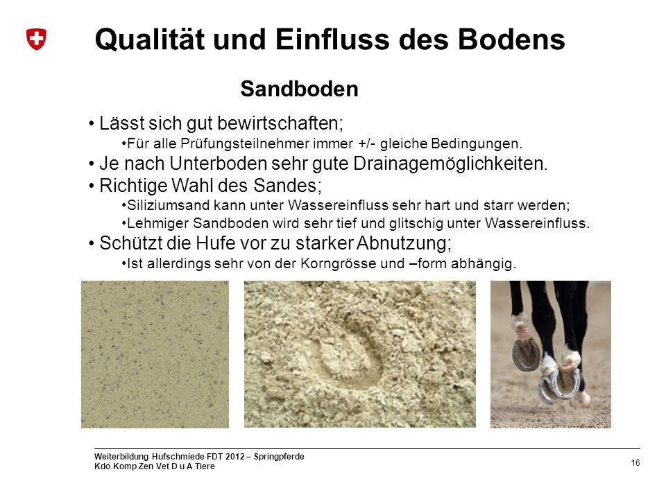 16 Weiterbildung Hufschmiede FDT 2012 – Springpferde Kdo Komp Zen Vet D u A Tiere Qualität und Einfluss des Bodens Lässt sich gut bewirtschaften; Für