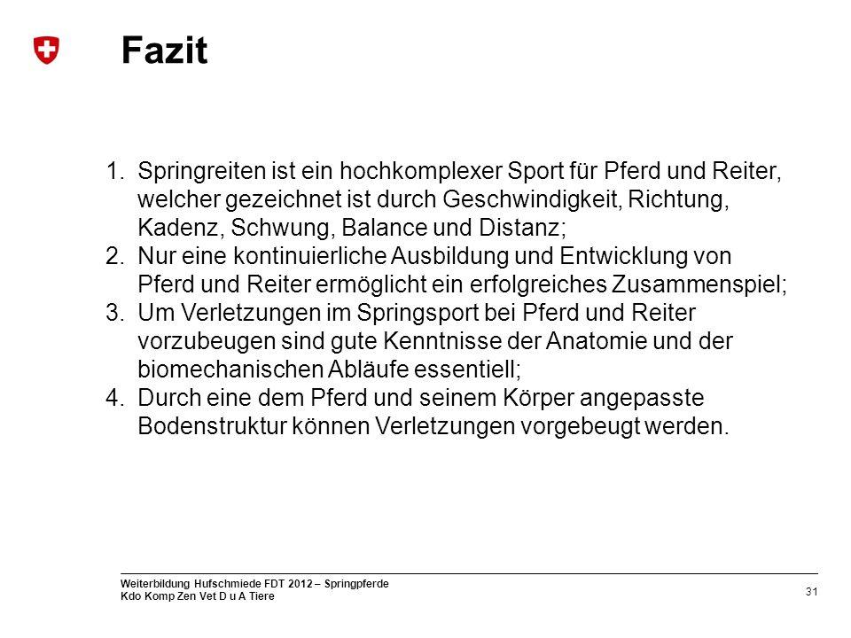 31 Weiterbildung Hufschmiede FDT 2012 – Springpferde Kdo Komp Zen Vet D u A Tiere Fazit 1.Springreiten ist ein hochkomplexer Sport für Pferd und Reite