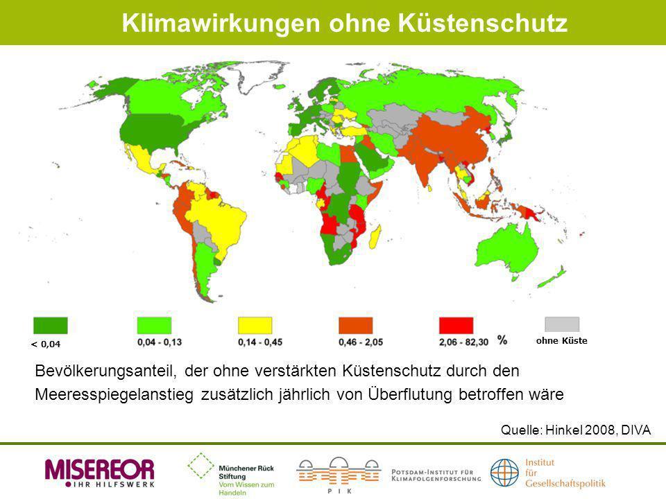 Klimawirkungen ohne Küstenschutz Quelle: Hinkel 2008, DIVA ohne Küste < 0,04 Bevölkerungsanteil, der ohne verstärkten Küstenschutz durch den Meeresspi