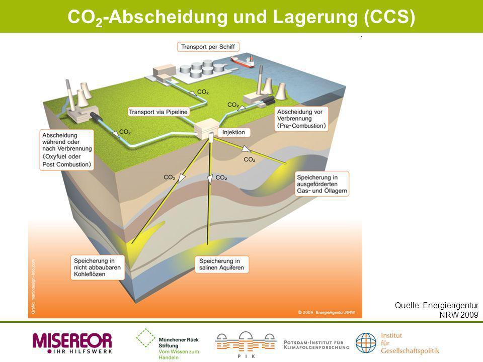 CO 2 -Abscheidung und Lagerung (CCS) Quelle: Energieagentur NRW 2009