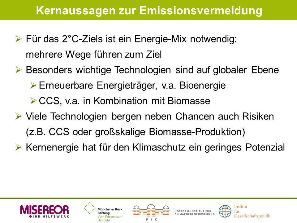 Kernaussagen zur Emissionsvermeidung Für das 2°C-Ziels ist ein Energie-Mix notwendig: mehrere Wege führen zum Ziel Besonders wichtige Technologien sin