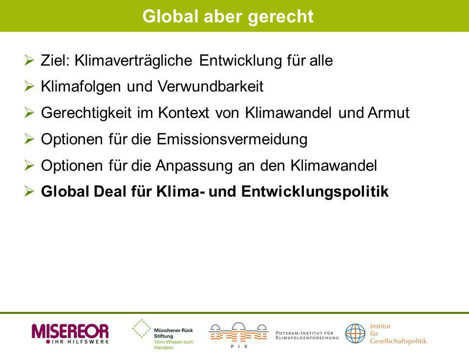 Global aber gerecht Ziel: Klimaverträgliche Entwicklung für alle Klimafolgen und Verwundbarkeit Gerechtigkeit im Kontext von Klimawandel und Armut Opt