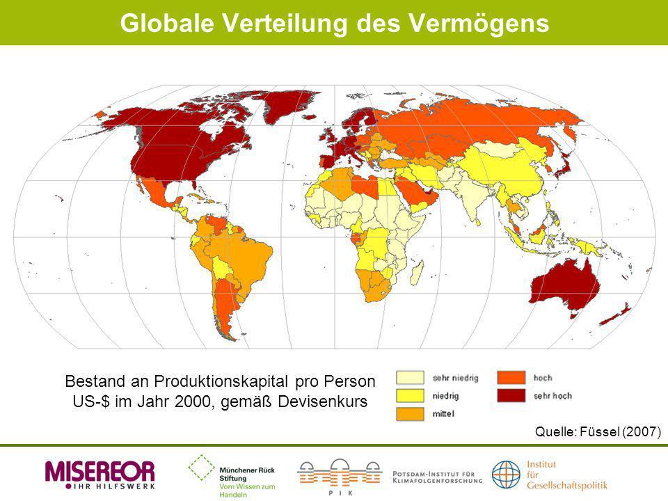 Globale Verteilung des Vermögens Quelle: Füssel (2007) Bestand an Produktionskapital pro Person US-$ im Jahr 2000, gemäß Devisenkurs