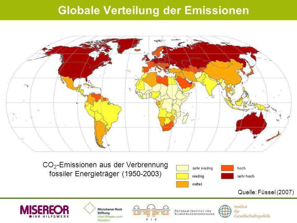 Globale Verteilung der Emissionen Quelle: Füssel (2007) CO 2 -Emissionen aus der Verbrennung fossiler Energieträger (1950-2003)