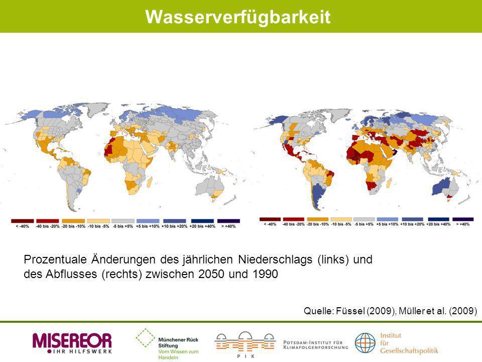 Wasserverfügbarkeit Quelle: Füssel (2009), Müller et al. (2009) Prozentuale Änderungen des jährlichen Niederschlags (links) und des Abflusses (rechts)