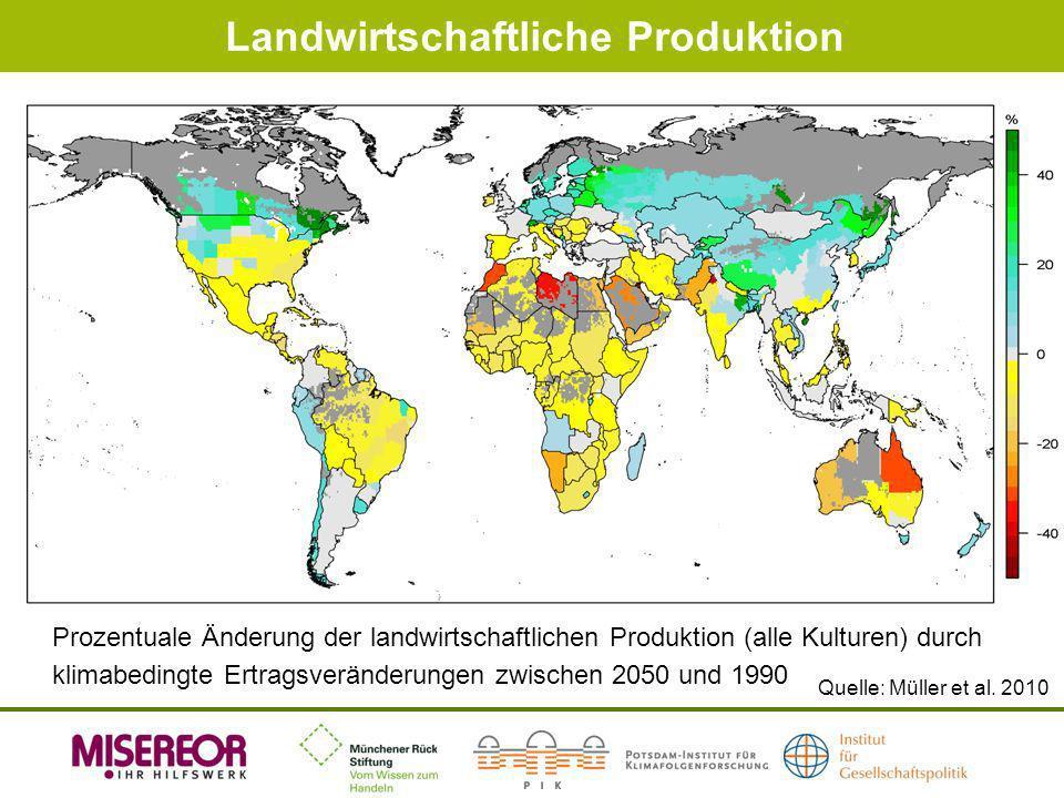Landwirtschaftliche Produktion Prozentuale Änderung der landwirtschaftlichen Produktion (alle Kulturen) durch klimabedingte Ertragsveränderungen zwisc