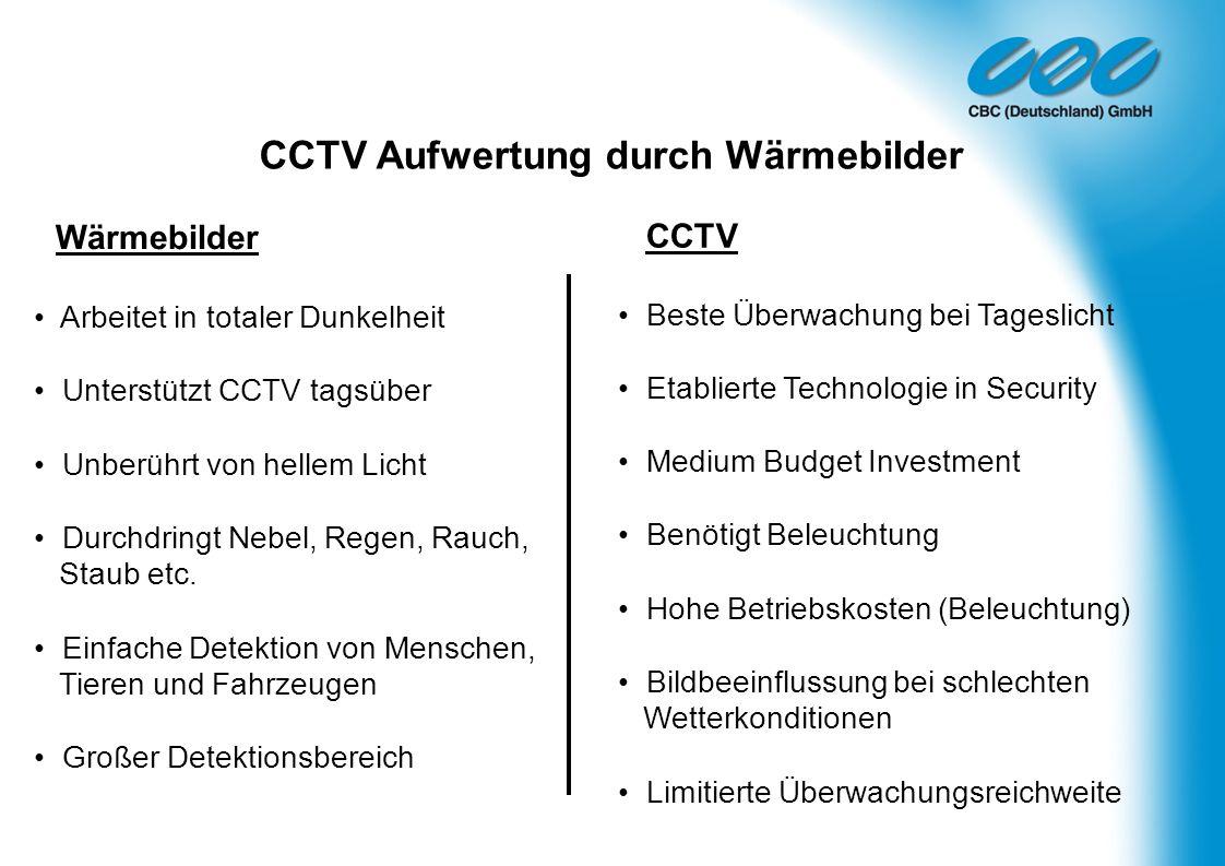 CCTV Aufwertung durch Wärmebilder Wärmebilder Arbeitet in totaler Dunkelheit Unterstützt CCTV tagsüber Unberührt von hellem Licht Durchdringt Nebel, R