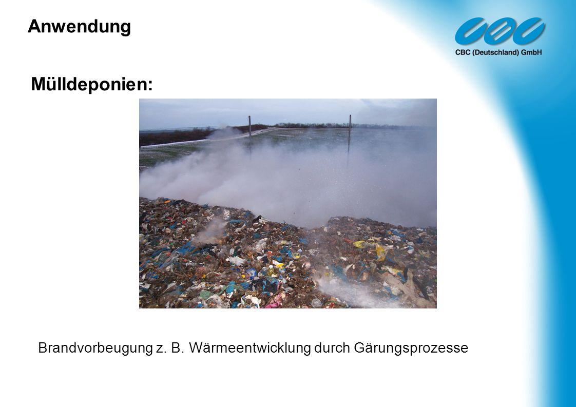 Mülldeponien: Brandvorbeugung z. B. Wärmeentwicklung durch Gärungsprozesse Anwendung