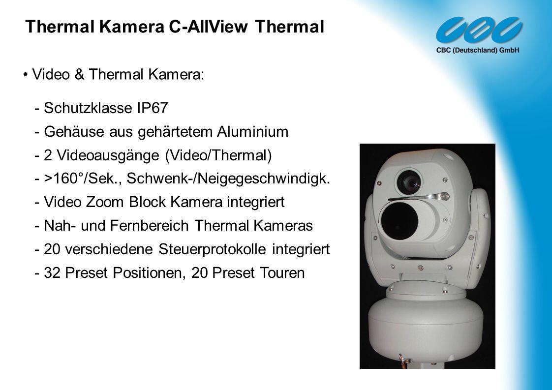 Video & Thermal Kamera: - Schutzklasse IP67 - Gehäuse aus gehärtetem Aluminium - 2 Videoausgänge (Video/Thermal) - >160°/Sek., Schwenk-/Neigegeschwind