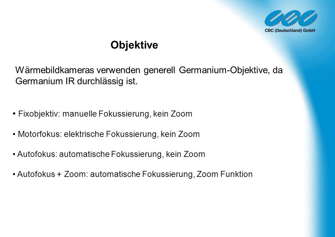 Objektive Fixobjektiv: manuelle Fokussierung, kein Zoom Motorfokus: elektrische Fokussierung, kein Zoom Autofokus: automatische Fokussierung, kein Zoo