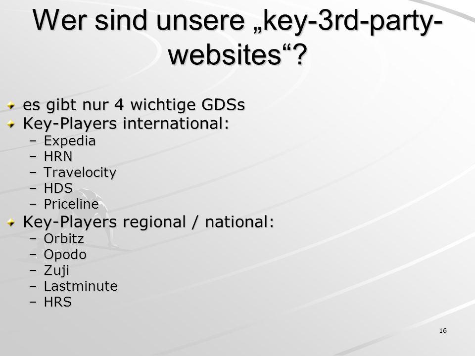 16 Wer sind unsere key-3rd-party- websites? es gibt nur 4 wichtige GDSs Key-Players international: –Expedia –HRN –Travelocity –HDS –Priceline Key-Play
