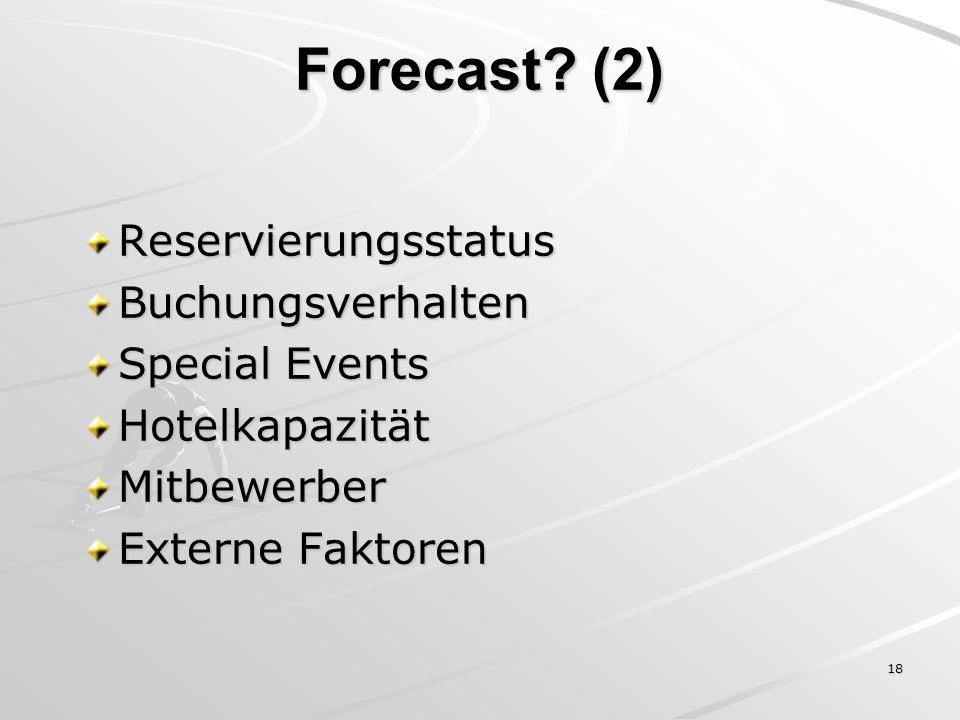 18 ReservierungsstatusBuchungsverhalten Special Events HotelkapazitätMitbewerber Externe Faktoren Forecast? (2)