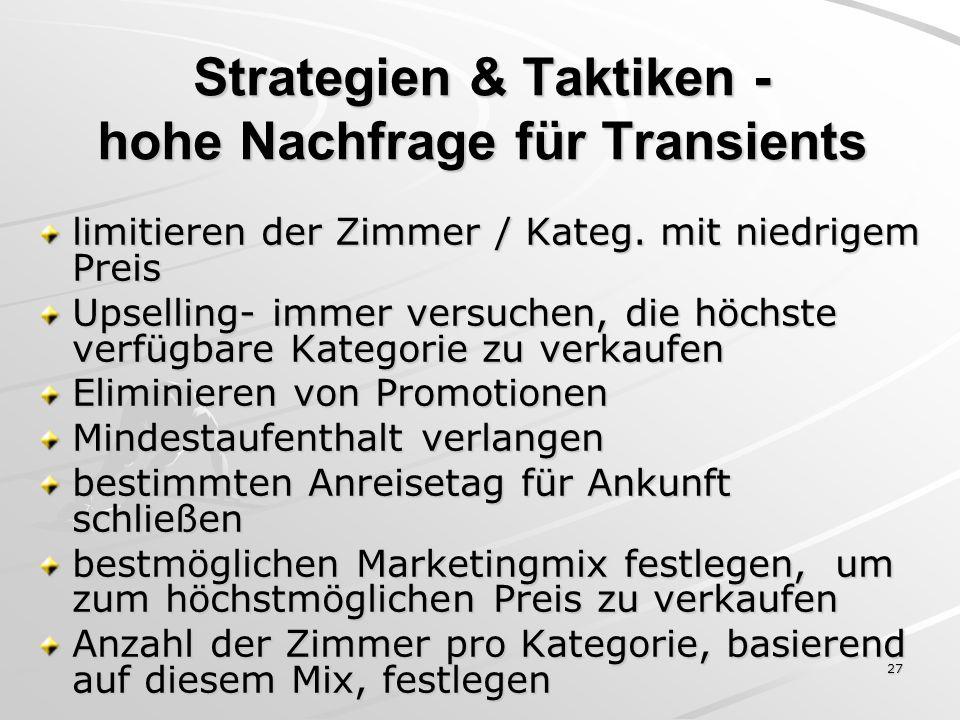 27 Strategien & Taktiken - hohe Nachfrage für Transients limitieren der Zimmer / Kateg. mit niedrigem Preis Upselling- immer versuchen, die höchste ve