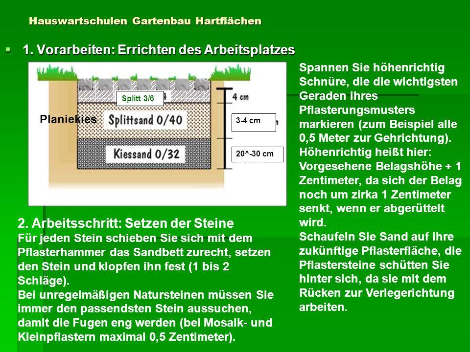 Hauswartschulen Gartenbau Hartflächen 1. Vorarbeiten: Errichten des Arbeitsplatzes 1. Vorarbeiten: Errichten des Arbeitsplatzes Splitt 3/6 Planiekies