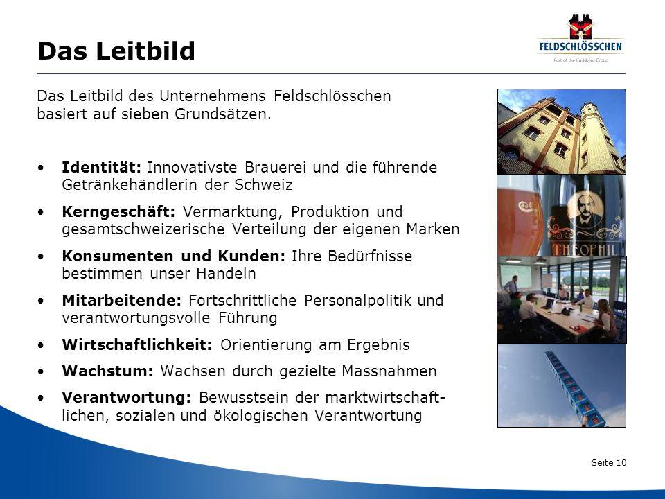 Seite 10 Das Leitbild Das Leitbild des Unternehmens Feldschlösschen basiert auf sieben Grundsätzen. Identität: Innovativste Brauerei und die führende